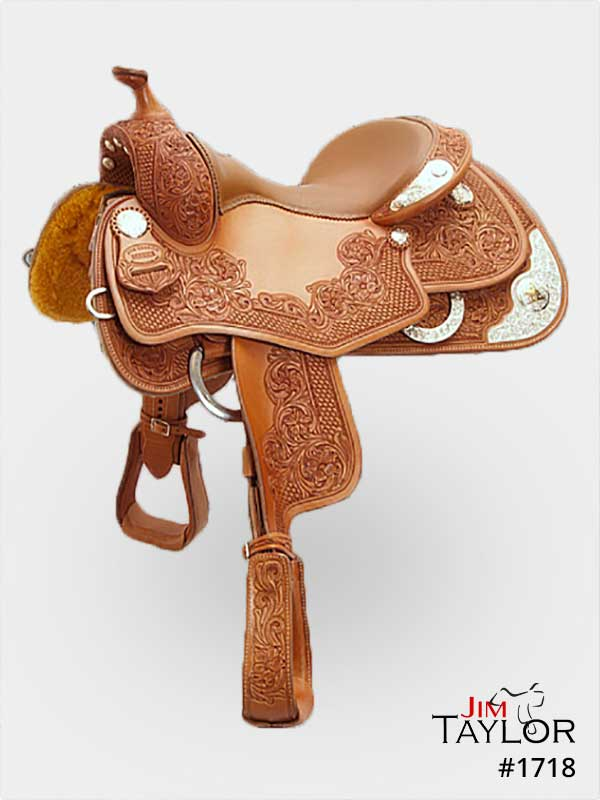 Brown silver show saddle