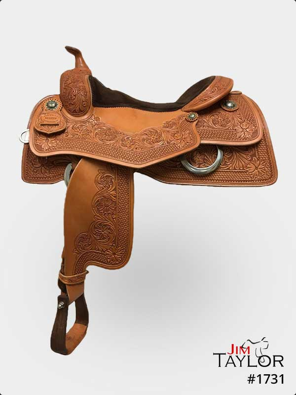 Brown reining western saddle