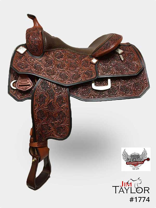 Red Brown coloured western reining saddle with floral tooling
