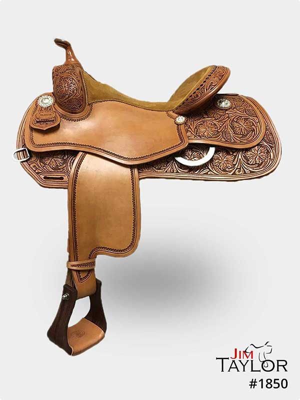 Light brown reining western saddle