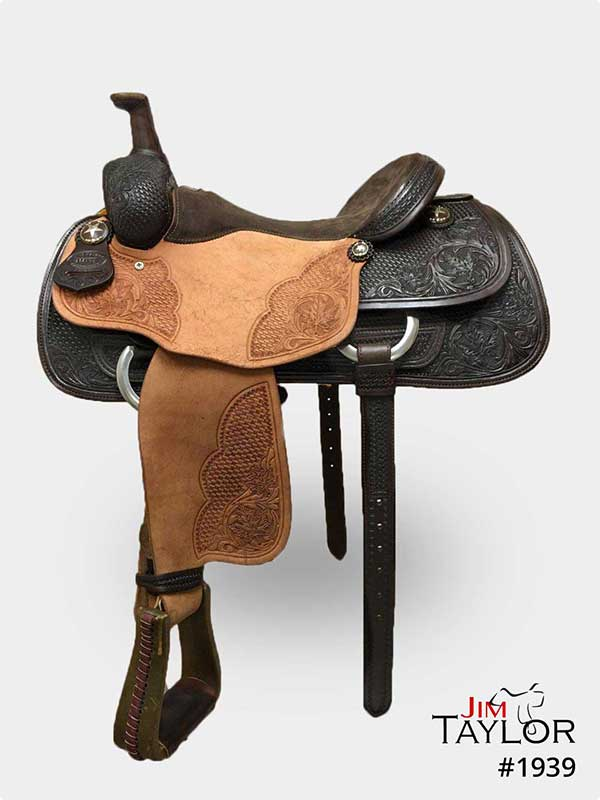 Black and tan western saddle